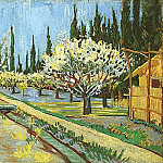 Orchard in Blossom, Bordered by Cypresses, Vincent van Gogh