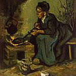 Peasant Woman Cooking by a Fireplace, Vincent van Gogh