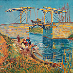 The Langlois Bridge at Arles with Women Washing, Vincent van Gogh