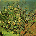 Landscape with Three Trees and a House , Vincent van Gogh