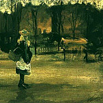 A Girl in the Street, Two Coaches in the Background, Vincent van Gogh