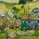 Thatched Cottages by a Hill, Vincent van Gogh