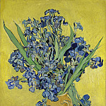 Vase with Irises Against a Yellow Background, Vincent van Gogh