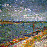 View of a River with Rowing Boats, Vincent van Gogh