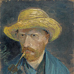 Self-Portrait with Straw Hat and Pipe, Vincent van Gogh