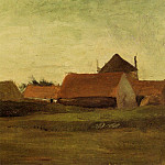Vincent van Gogh - Farmhouses in Loosduinen near The Hague at Twilight