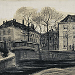 Vincent van Gogh - Bridge and Houses on the Corner of Herengracht - Prinsessegracht, The Hague