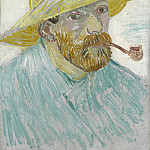 Vincent van Gogh - Self-Portrait with Pipe and Straw Hat