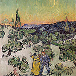 Landscape with Couple Walking and Crescent Moon, Vincent van Gogh