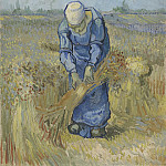 Peasant Woman Binding Sheaves , Vincent van Gogh