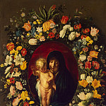 Madonna and Child in a wreath of flowers, Jacob Jordaens