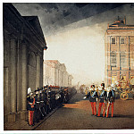 Zichy, Mihaly – Parade in front of the palace Anichkov February 26, 1870, Part 05 Hermitage