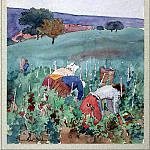 Lombard, Edmond – Landscape with women in the Vineyard, part 07 Hermitage