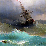 Ship midst of the stormy sea, Ivan Konstantinovich Aivazovsky
