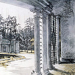 View of the pavilion and the fountain The lattice Eve at Peterhof, Alexandre Nicolas Benois