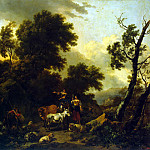 Italian landscape with two girls and a herd, Jan de Beer