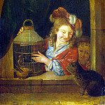 Ner, Eglon Hendrik van der – Children with a bird and a cat, part 09 Hermitage