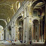 Panini, Giovanni Paolo – Interior of the Cathedral of St.. Peters in Rome, part 09 Hermitage