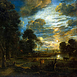 Ner, Art van der – Night Landscape with river, part 09 Hermitage