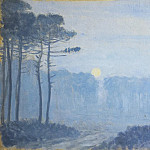 Obyurten, Jean-Francis – Landscape with pine trees on a moonlit night, part 09 Hermitage