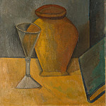 pot, a glass and a book, Pablo Picasso
