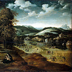 Patinir, Joachim – Landscape with a scene of relaxation on the way to Egypt, part 09 Hermitage