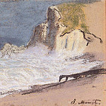 Claude Oscar Monet - The Manneport, Etretat - Amont Cliff, Rough Weather