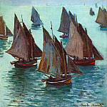 Fishing Boats, Calm Sea, Claude Oscar Monet