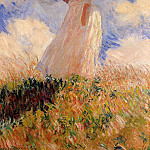 Claude Oscar Monet - Woman with a Parasol (also known as Study of a Figure Outdoors (Facing Left))