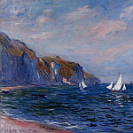 Cliffs and Sailboats at Pourville, Claude Oscar Monet
