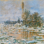 Breakup of Ice, Lavacourt, Grey Weather, Claude Oscar Monet