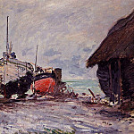 Fishing Boats at Etretat, Клод Оскар Моне