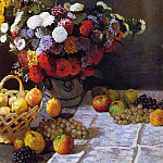 Flowers and Fruit, Claude Oscar Monet