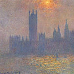 Houses of Parliament, Effect of Sunlight in the Fog, Claude Oscar Monet