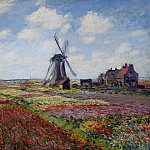 Fields of Tulip With The Rijnsburg Windmill, Claude Oscar Monet