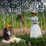 In The Woods At Giverny Blanche Hoschede Monet At Her Easel With Suzzanne Hoschede Reading, Клод Оскар Моне