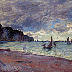 Fishing Boats by the Beach and the Cliffs of Pourville, Claude Oscar Monet