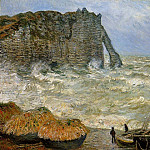 The Manneport, Etretat, Rough Sea, Claude Oscar Monet