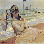 Camille on the Beach at Trouville, Claude Oscar Monet
