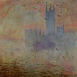 Houses of Parliament, Seagulls 2, Claude Oscar Monet