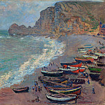 The Beach at Etretat , Claude Oscar Monet