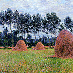 Haystacks, Overcast Day, Claude Oscar Monet