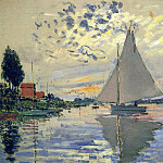 Sailboat at Le Petit Gennevilliers, Claude Oscar Monet
