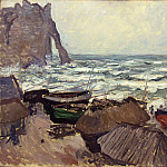Fishing Boats on the Beach at Etretat, Claude Oscar Monet