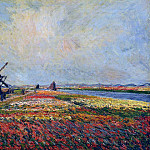 Fields of Flowers and Windmills near Leiden, Клод Оскар Моне