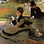 Camille Monet on a Garden Bench, Клод Оскар Моне