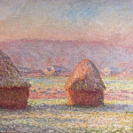 Haystacks – White Frost, Sunrise, Claude Oscar Monet