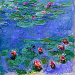 Water Lilies Red, Claude Oscar Monet
