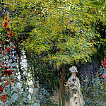 The Garden, Hollyhocks, Claude Oscar Monet