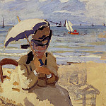 Camille Sitting on the Beach at Trouville, Claude Oscar Monet